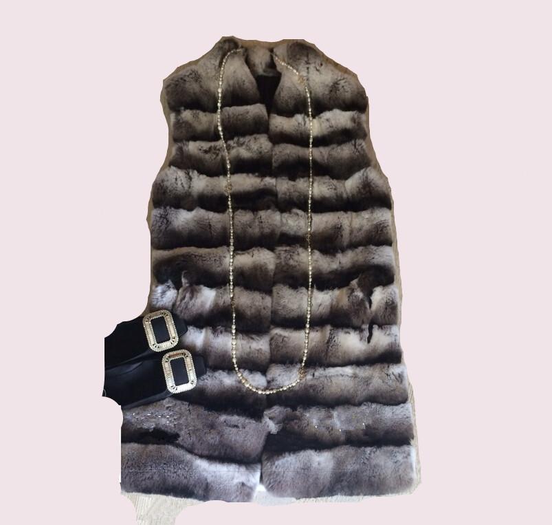 Best Top Quality New Chinchilla Fur Coat For Women Genuine Real Rex Rabbit Fur Vest Long Outerwear Natural Fur WaistcoatОдежда и ак�е��уары<br><br><br>Aliexpress