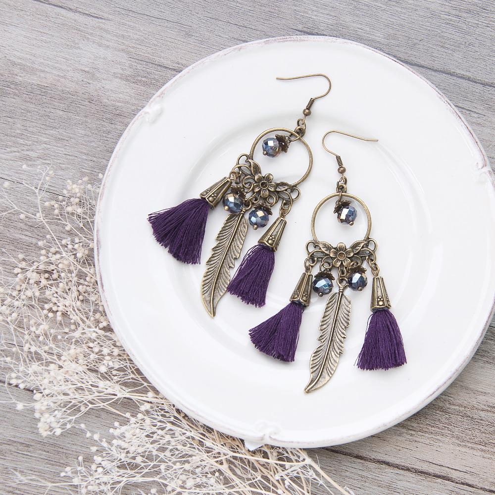 buy tassels necklace vintage purple