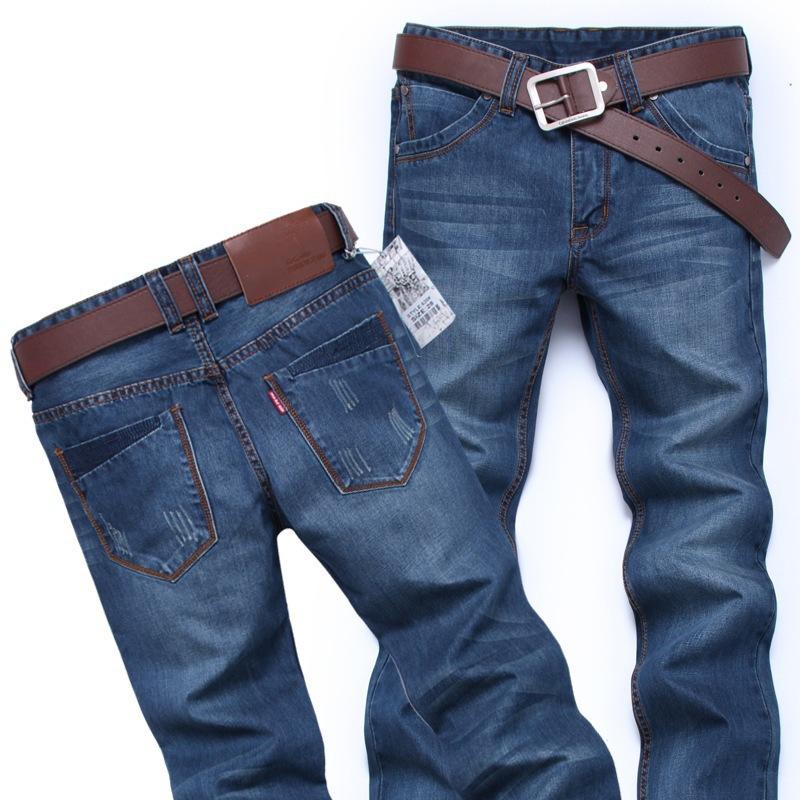 Fashion jeans 2015 high quality jeans men big sale autumn clothes new famous brand straight slim fit blue Mens jeans plus size(China (Mainland))