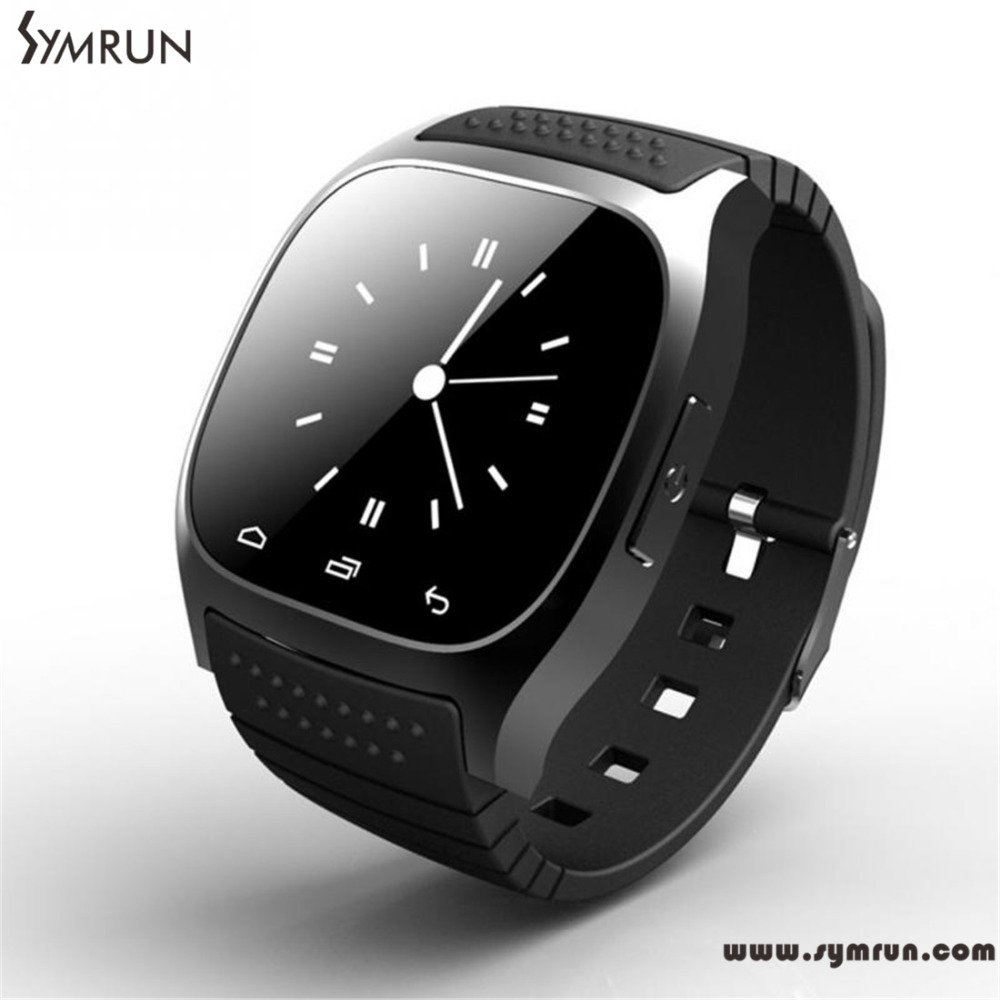Symrun Wireless Bluetooth M26 Smart Wrist Watch Sync Phone Mate For Ios Android Iphone Rubber Smartwatch Women(China (Mainland))