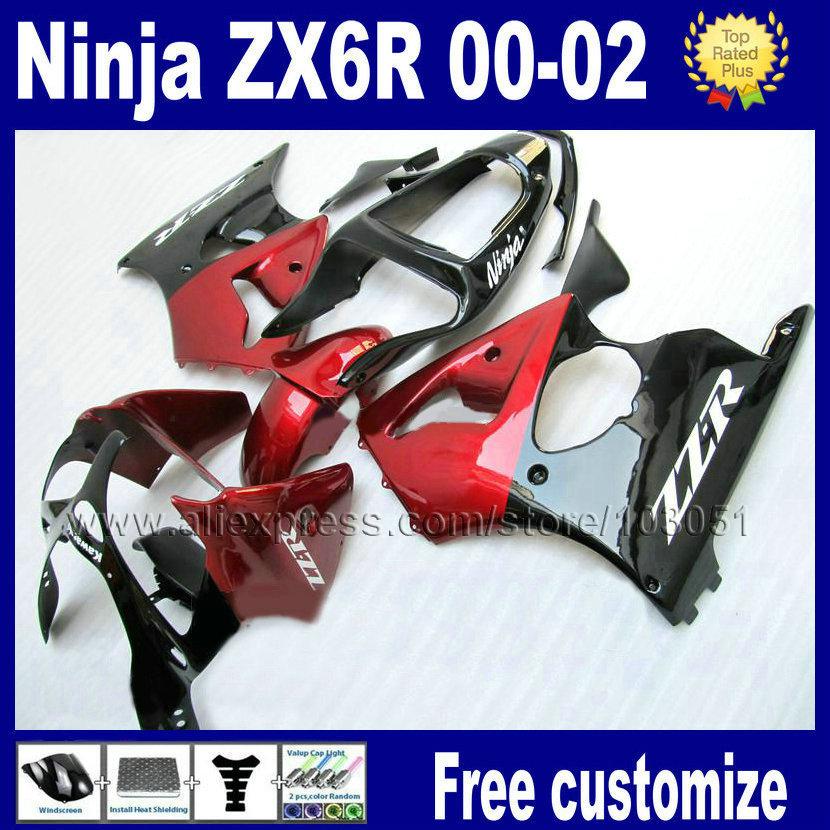 Personalizado kits de carenados de la motocicleta para kawasaki zx 636 ninja 2000 2001 2002 ZX6R 636 01 00 02 rojo negro carenado carretera kit de partes del cuerpo(China (Mainland))