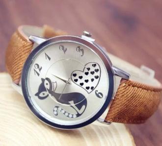 Montre femme cute cat vintage women dress watches ladies fashion casual quartz watch men leather strap