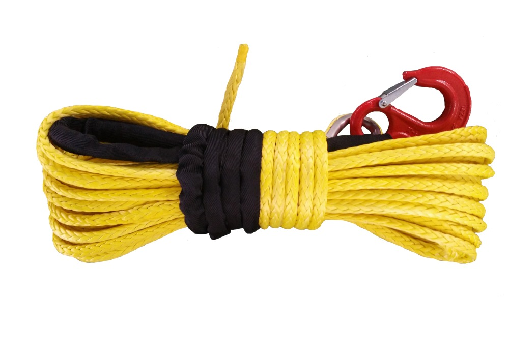 """3/8"""" x 100' 10mm x 30m SYNTHETIC UHMWPE WINCH ROPE CABLE WITH HOOK & ROCK GUARD(China (Mainland))"""