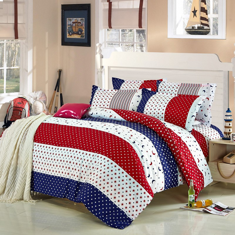 4pcs Twin Full Size Red White Blue Striped Bedding Blue