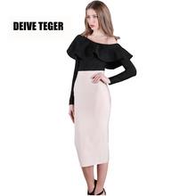 DEIVE TEGER 2017 Spring bandage pencil skirts women's High Waist solid nude Skirts saias TS999(China (Mainland))