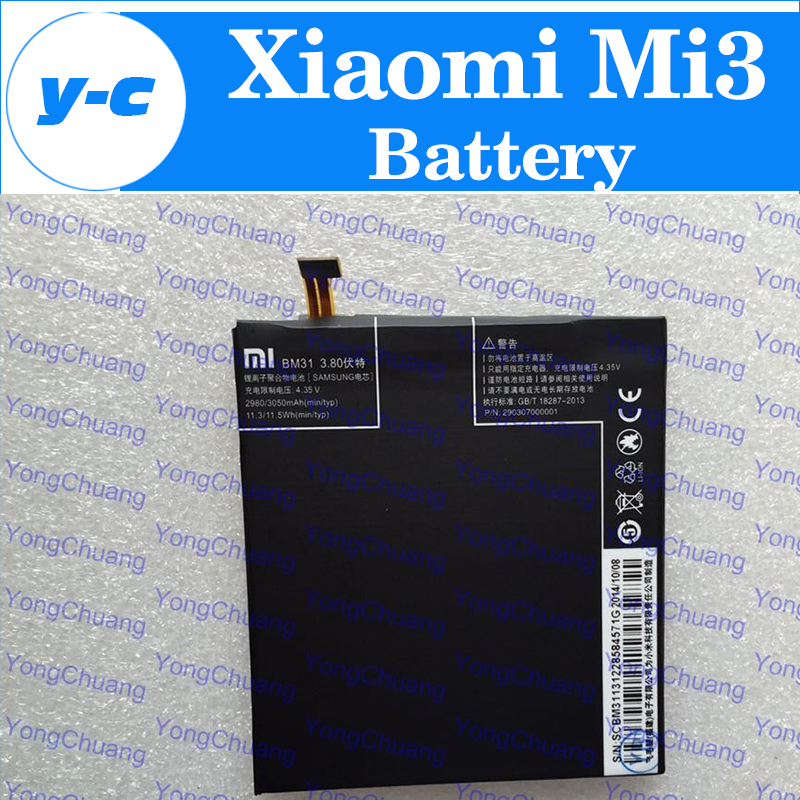 Xiaomi mi3 Battery 100% New Original BM31 3050mAh Battery For xiaomi 3 m3 Smart Phone In Stock Free Shipping + Tracking Number(China (Mainland))