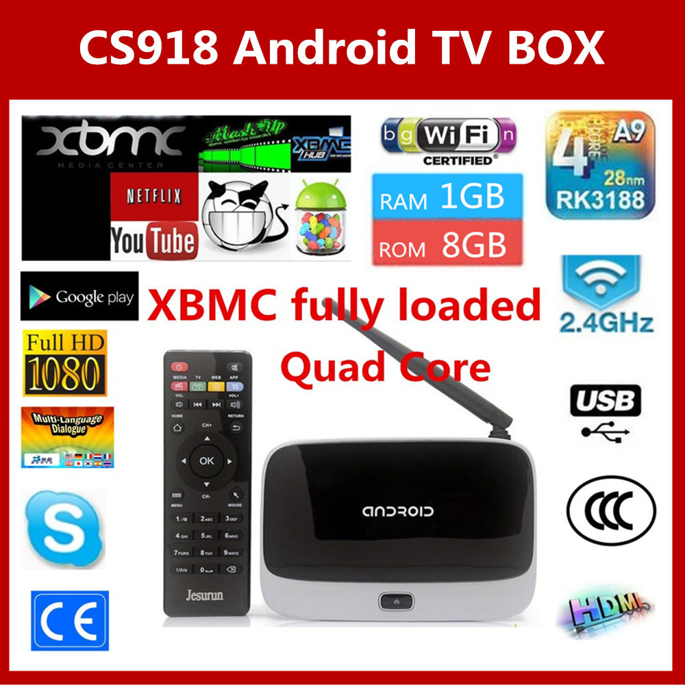XBMC Fully Loaded Q7 Android TV Box CS918 Full HD 1080P RK3188 Quad Core Media Player 1GB/8GB Wifi Antenna with Remote Control(China (Mainland))