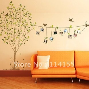 free shippingNEW Sitting / Dinning Room Decal Removable Photo Frame Tree Birds Words Wall Sticker Art Mural Vinyl Wall Decor
