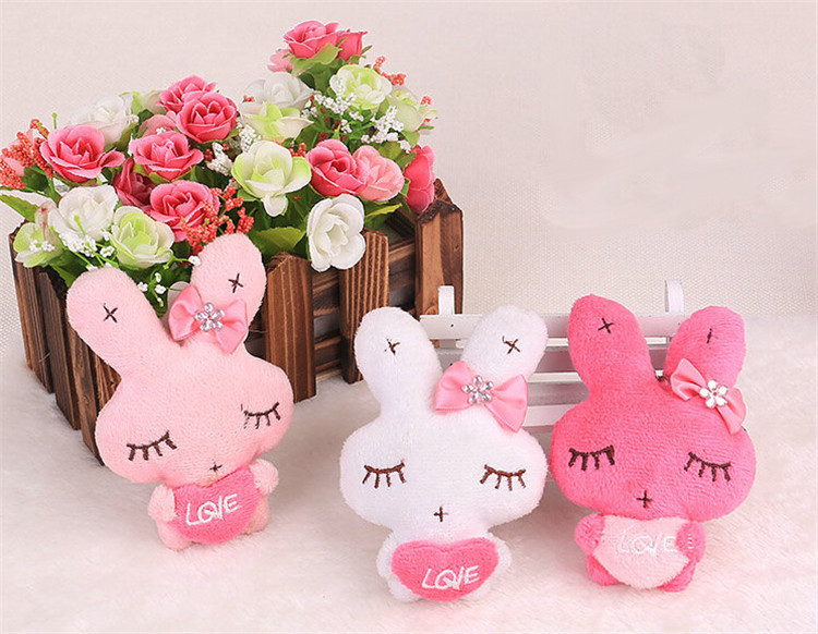 3pieces Wedding supplies Love rabbit doll toy Rabbit Plush Pendant Romantic lovers gift Free shipping(China (Mainland))