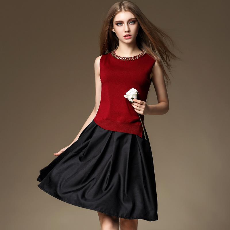 Fashion Knitting Top With Diamond + Soft Half Slip(China (Mainland))