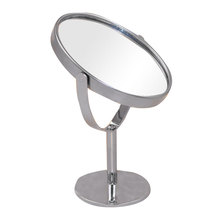 Round Metal Stainless Steel Desktop Small Mirror double Surface Cosmetic Mirror Make-up Mirrors 1:2 Amplification Home Decor(China (Mainland))