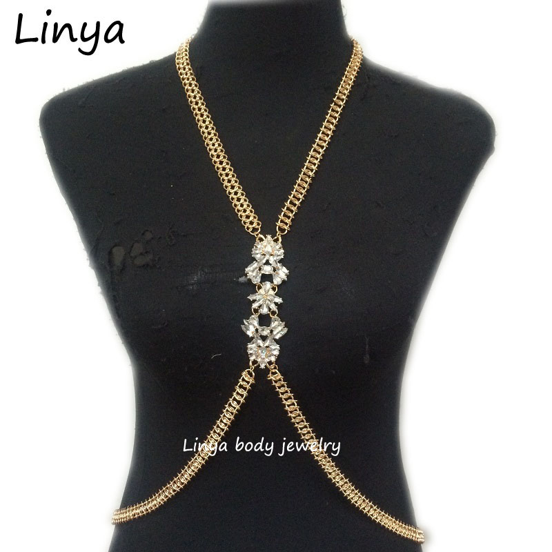 New Simple Crystal body chain jewelry necklace,gold beach jewelry BC-480 free shipping(China (Mainland))