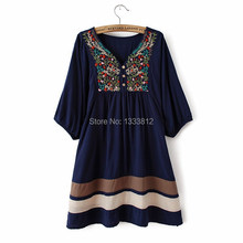 2015 Hot Sale Women Summer Embroidered Ethnic style stitching loose half sleeve female Cotton Long Blouse Free Shipping
