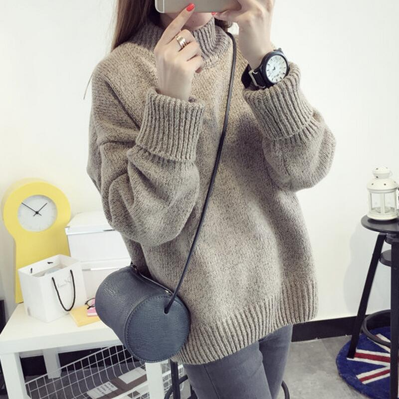 Women Korean Oversized Sweater Slim Cashmere Thick Bottoming Turtleneck LadyFashion Casual ...