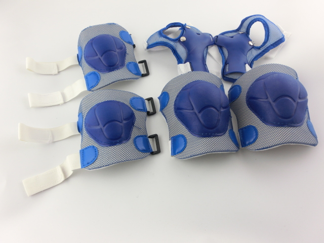 Blue White Skate Sports Knee Elbow Wrist Pad Support for Children 1Set(China (Mainland))