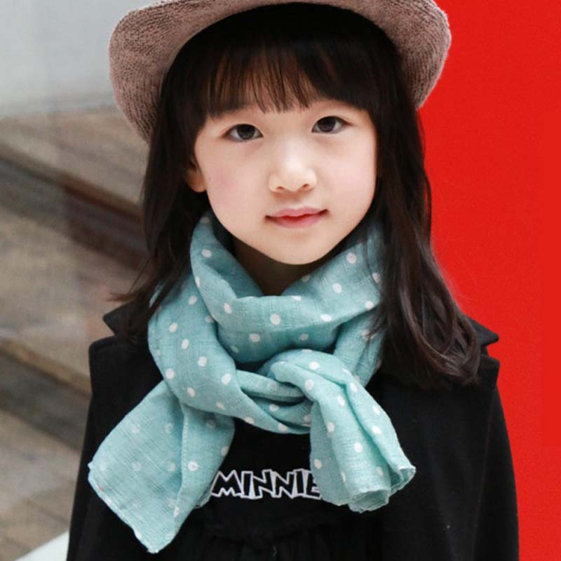 Cute Kids Scarf Dot Fashion Pattern Autumn Winter Long Scarves for Boys Girls Cotton Blends Soft Neckwarmer Children Gift Scarf(China (Mainland))