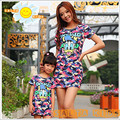 2016NEW Summer Dress Baby Mom Dress Girl Dress Family Look Clothing Family Matching Outfits MN09