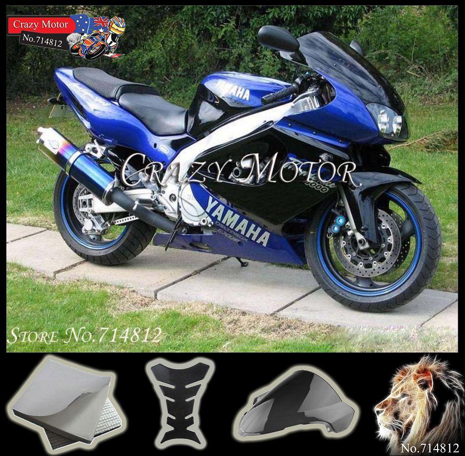fairing yamaha black blue YZF1000 1996 1997 1998 1999 2000 2001 2002 2003 2004 2005 2006 2007 E01 Fairing Set Fit - Crazy Motor store