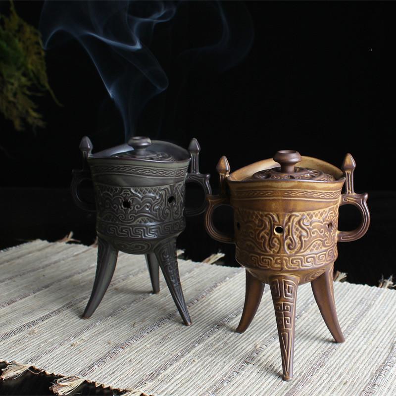 YXY New Multifunction Ceramic Craft Mini Tripod Antique Glaze Incense Burner Sandalwood Censer Coil Incense Burner Home Decor(China (Mainland))