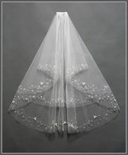 2015 foto reali bianco avorio velo da sposa corto con pettine in rilievo mantilla velo da sposa accessori da sposa veu de noiva MD3041(China (Mainland))