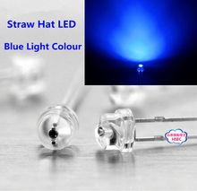 Free shipping 1000pcs 5mm (4.8mm) Straw Hat LED Blue Light Emitting Diode 5MM Blue Colour LED emitting diode(China (Mainland))