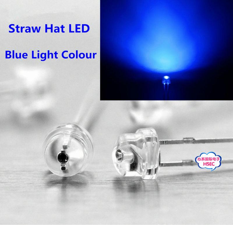 8mm Straw Hat Led: Free Shipping 1000pcs 5mm (4.8mm) Straw Hat LED Blue Light
