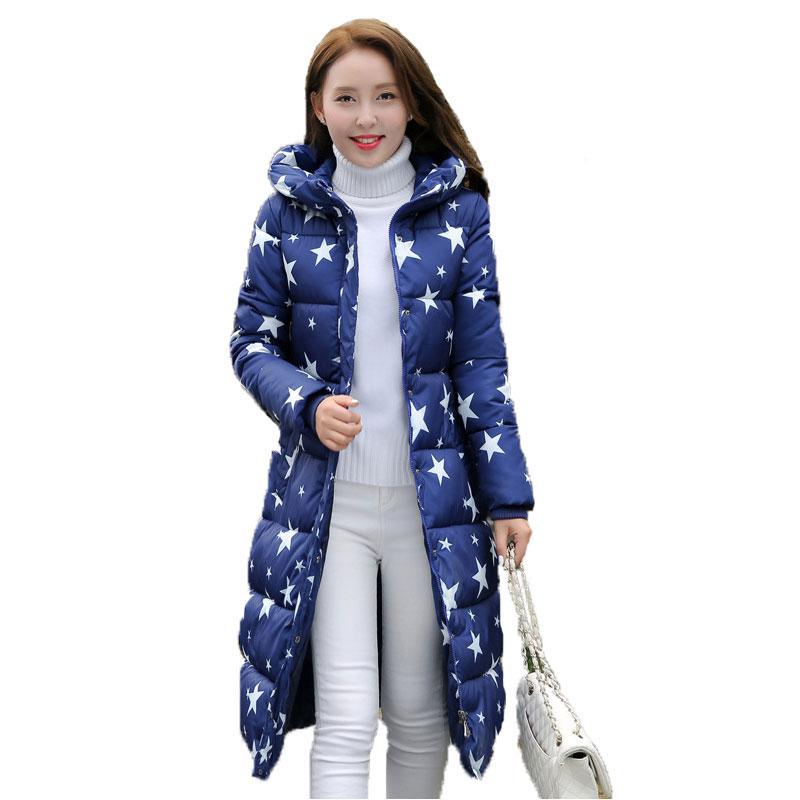 2016 Fashion Winter Cotton Padded Jacket Women Slim Thick Stars Print Female Coat Parka Warm Winter Long Jackets Ladies Overcoat(China (Mainland))