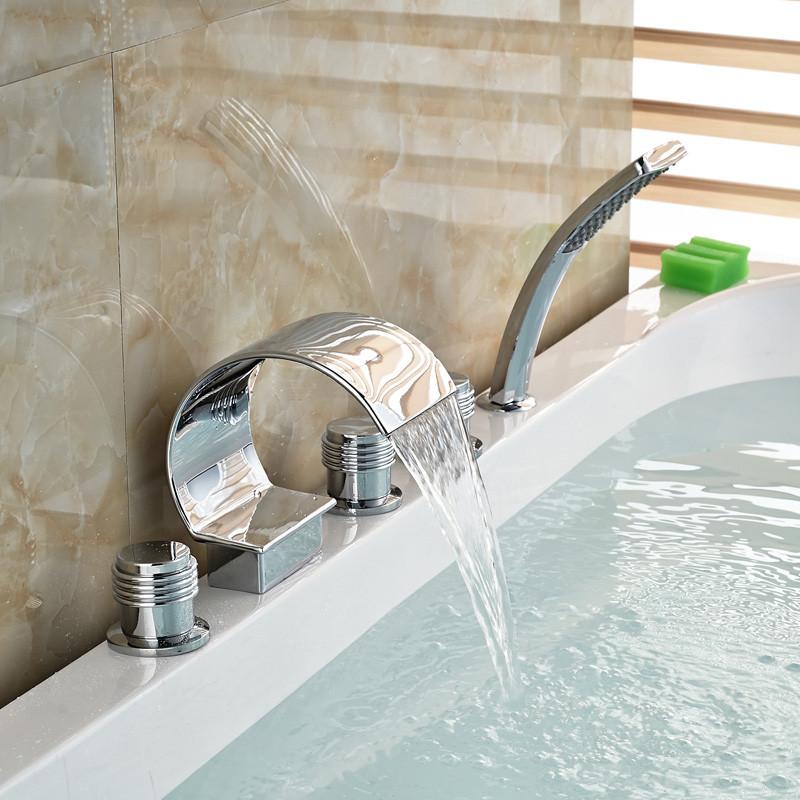 Купить Хром Латунь Отделка 5 Шт. Водопад Ванной Раковина Смеситель Ванной кран ручной Душ Смеситель Набор