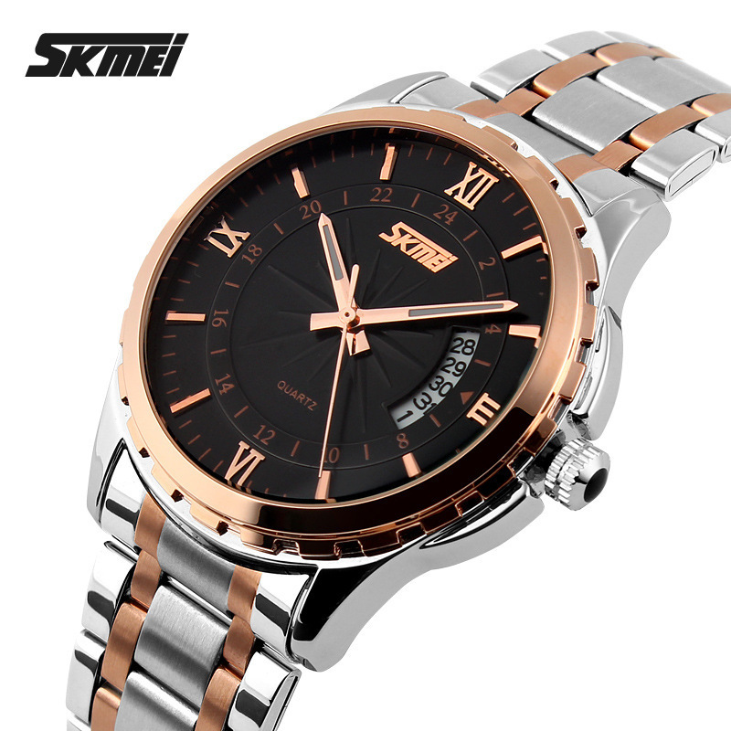 Watches Men Luxury Brand Skmei Fashion Men's Quartz Watch Casual Waterproof Men Full Steel Gold Wristwatches relogio masculino