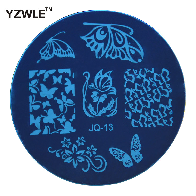 YZWLE 1 Pcs Stamping Nail Art Image Plate, 5.6cm Stainless Steel Nail Stamping Plates Template Manicure Stencil Tools (JQ-13)(China (Mainland))