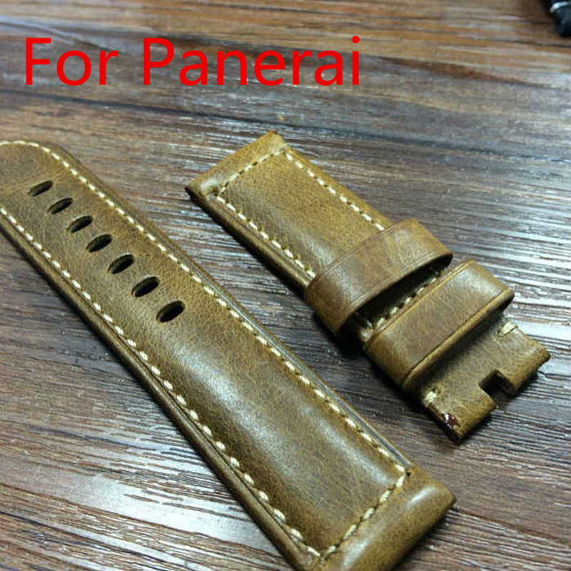 24MM 26MM Burst Crack Oil Wax Retro Leather Leather Strap, Rough Watchbands For P-Style Watch Without Buckle,Free Shiping(China (Mainland))