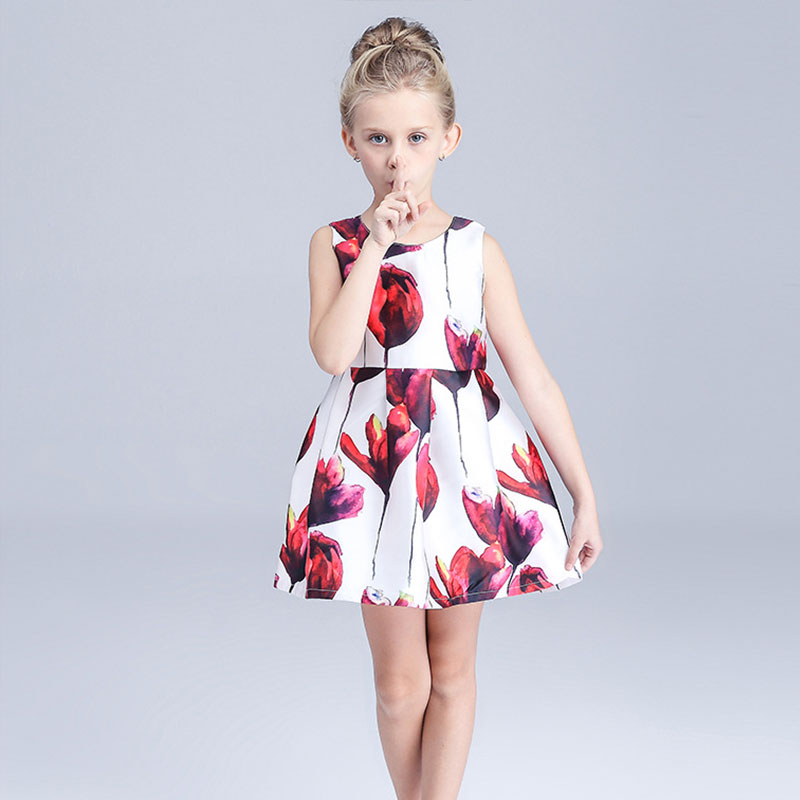 2016 New Summer dress girl A-Line Princess Dress cute flower pattern dress Child girls Clothes free shipping kids casual clothes(China (Mainland))