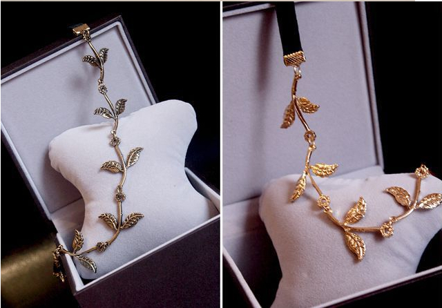 New Alloy Leaf Leaves Grecian Garland Forehead Head Hair Band Headband Gold Olive Branch Accessory A035(China (Mainland))