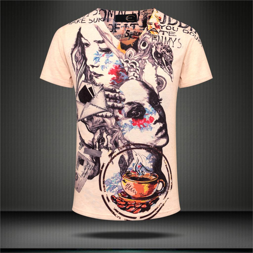 Thin Short Sleeve Tees V Neck T-shirt Newest Style 3D Printed T Shirt Men Brand Famous Cotton Luxury Clothing 3XL 2015 Plus Size(China (Mainland))