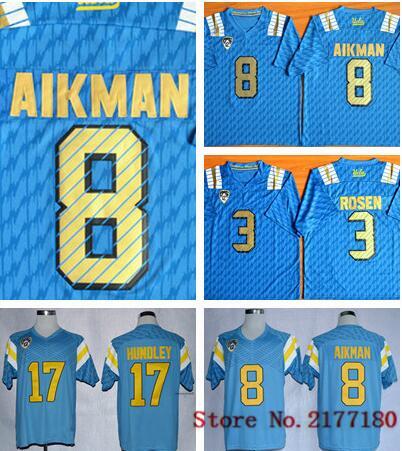 2016 New Style NWT UCLA Bruins Low Price #8 Troy Aikman Jersey Blue True 3 Josh Rosen 17 Brett Hundley College Football Jerseys(China (Mainland))