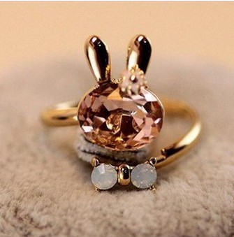 2015 accessories crystal rabbit bow ring rhinestone finger ring opening 3009