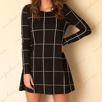 Long Sleeve Swing Skater Mini Dress Womens Black White font b Tartan b font Check Print