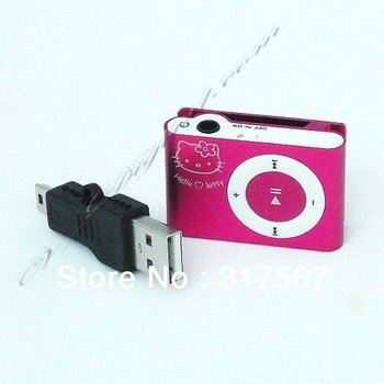 New Mini Hello Kitty Clip MP3 Player support 1G-8G TF Card + 8 Colors Select