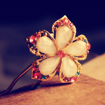 Sunshine store jewelry wholesale fashion crystal flower hair stick  Hl02806 (  $10 free shipping )F005