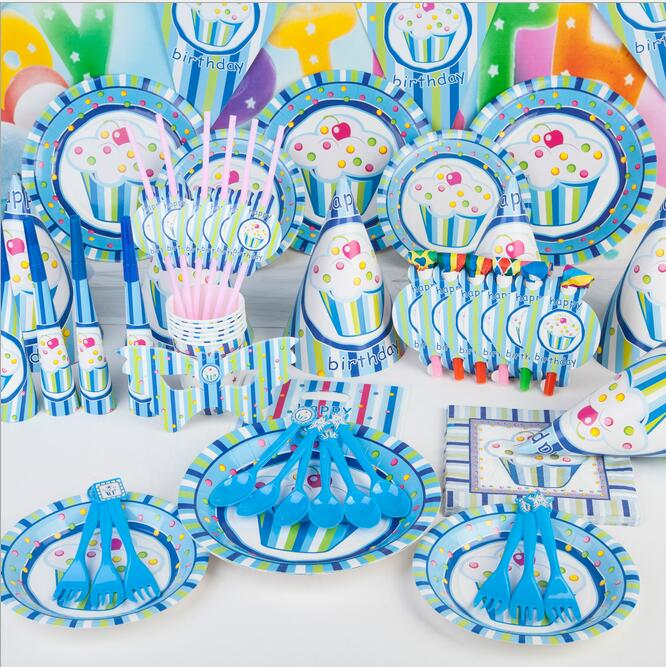 90pcs Cute PINK / Blue round cake painting tableware set birthday party decorations kids baby shower birthday favor for girl boy(China (Mainland))