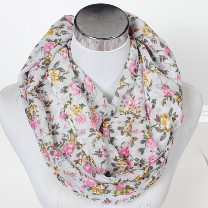 2016 Small Flower Club Loop Scarves Shawl Winter Women Chevron Plum Blossom Warm Print Infinity Scarf Wave Stripe Ring Wrap(China (Mainland))
