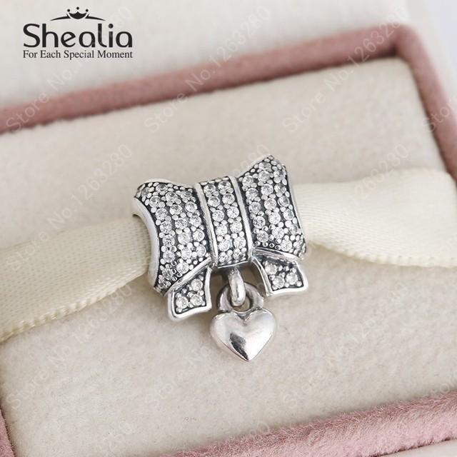 Рождественский подарок 2015 зима новый стерлингового серебра 925 вымощают CZ с бантом завораживает сердца женщин браслеты тонкой DIY аксессуары