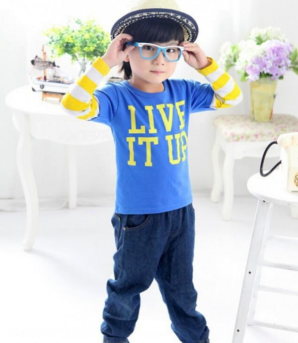 2015 new spring Tee T-shirt boys long sleeve cartoon shirts stripe baby girl shirt autumn letters cotton tops kids clothes WD225<br><br>Aliexpress