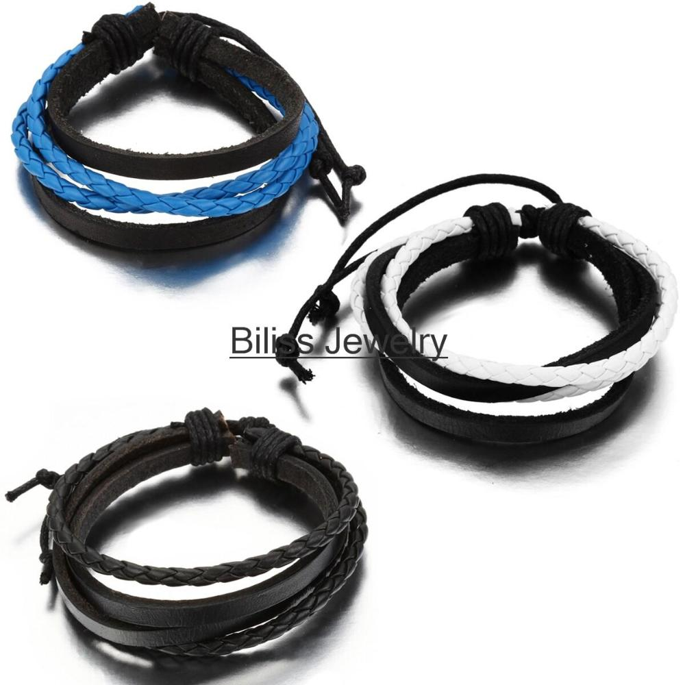 Hot Handcraft Leather Wrap Bracelets Knitted Cowhide With Rope Bangles Fashion Men Jewelry multilayer bracelet Size Adjustable(China (Mainland))