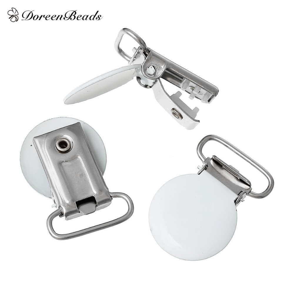 Free Ship! Pacifier Clip Baby Round White 3.4cm x 23.0mm, 10 PCs (B53954) FOR APP SALE(China (Mainland))