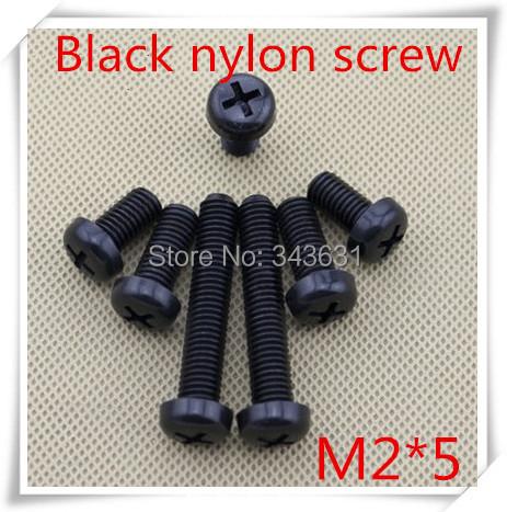 100pcs/lot m2*5 black nylon plastic  pan head phillips countersunk screw<br><br>Aliexpress