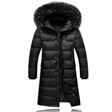 2016 winter Men's thick keep warm White duck down hoody long jacket Men long style 90% white duck down down jackets(China (Mainland))