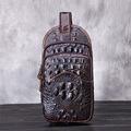 YISHIDUN Famous Crocodile Grain Men Chest Pack Sling Single Shoulder Strap Genuine Leather Travel Bag Fashion