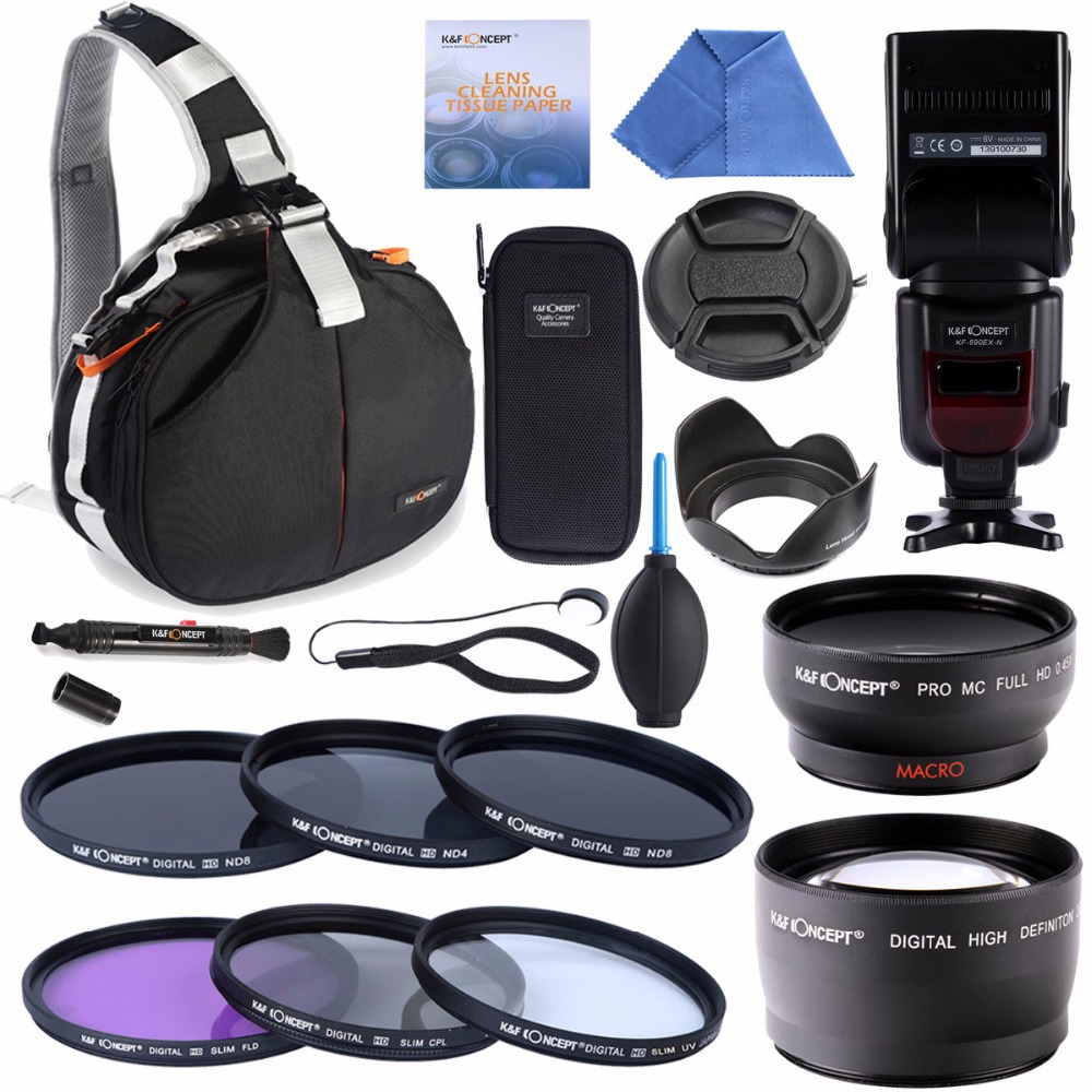 Camera Bag+ KF-590 EX-N Speedlite +52mm UV CPL FLD+ ND2 ND4 ND8 filter+52mm 0.45x Wide Angle & 2.2x Telephoto Lens(China (Mainland))