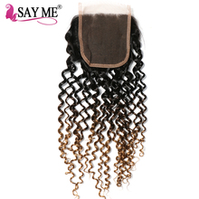 Buy SAY ME Ombre Brazilian Kinky Curly Closure 1b/4/27 Blonde 3 Three Tone Free Part 4x4 Non-Remy Human Hair Lace Closure Piece for $32.54 in AliExpress store